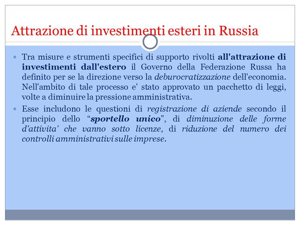 Attrazione di investimenti esteri in Russia Tra misure e strumenti specifici di supporto rivolti all'attrazione di investimenti dall'estero il Governo