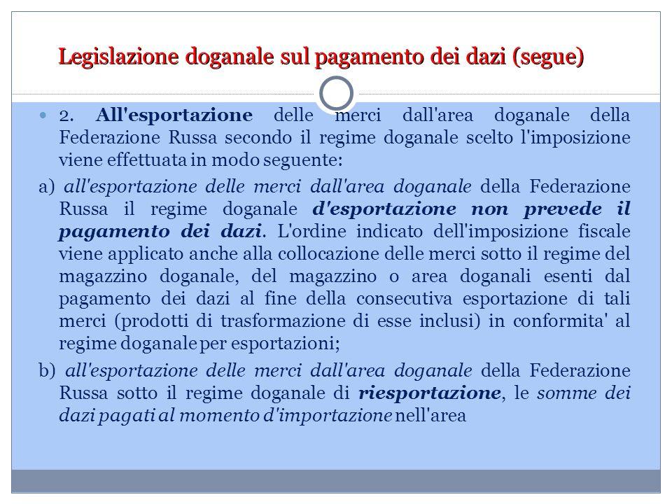 Legislazione doganale sul pagamento dei dazi (segue) 2. All'esportazione delle merci dall'area doganale della Federazione Russa secondo il regime doga
