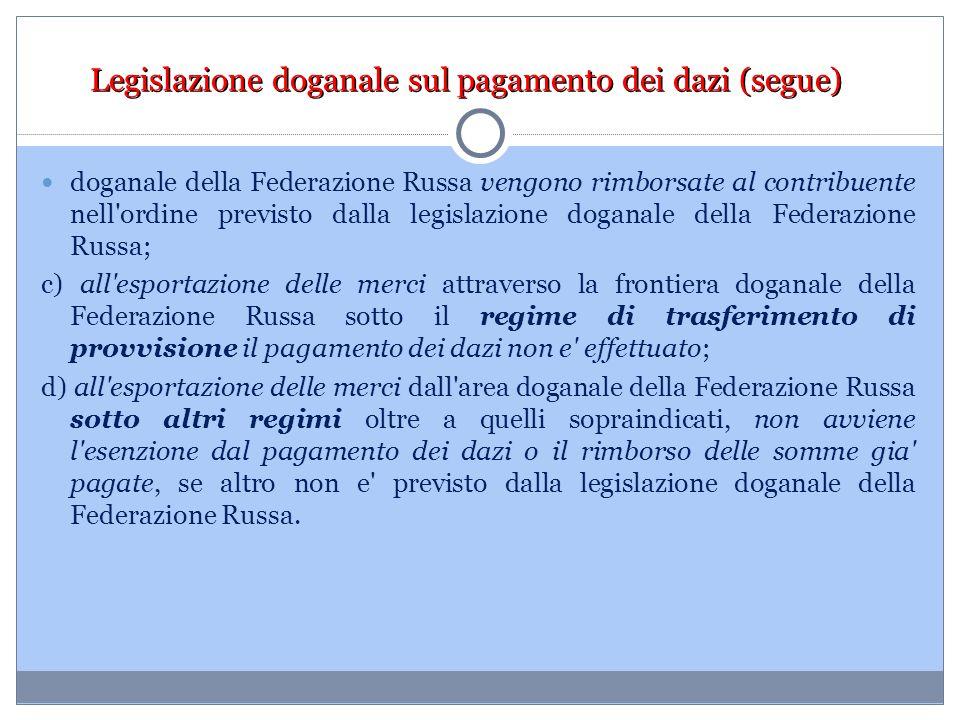 Legislazione doganale sul pagamento dei dazi (segue) doganale della Federazione Russa vengono rimborsate al contribuente nell'ordine previsto dalla le