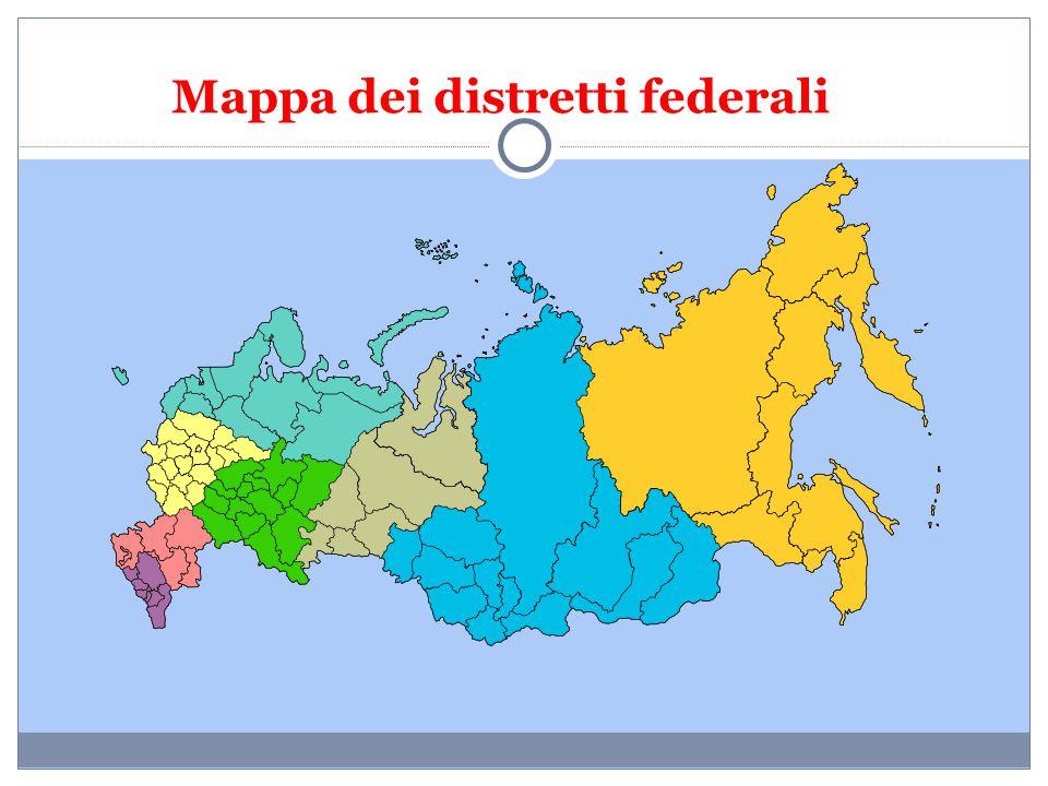 Legenda - Distretto Federale Centrale (in giallo chiaro) - Distretto Federale Meridionale (in rosa) - Distretto Federale del Caucaso Settentrionale (in viola) - Distretto Federale Nordoccidentale (in azzurro chiaro) - Distretto Federale del Volga (in verde) - Distretto Federale degli Urali (in grigio) - Distretto Federale Siberiano (in azzurro scuro) - Distretto Federale Estremo-orientale (in giallo scuro)