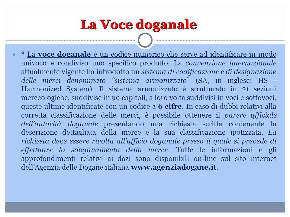 La Voce doganale * La voce doganale è un codice numerico che serve ad identificare in modo univoco e condiviso uno specifico prodotto. La convenzione