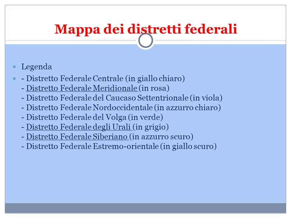 Legenda - Distretto Federale Centrale (in giallo chiaro) - Distretto Federale Meridionale (in rosa) - Distretto Federale del Caucaso Settentrionale (i