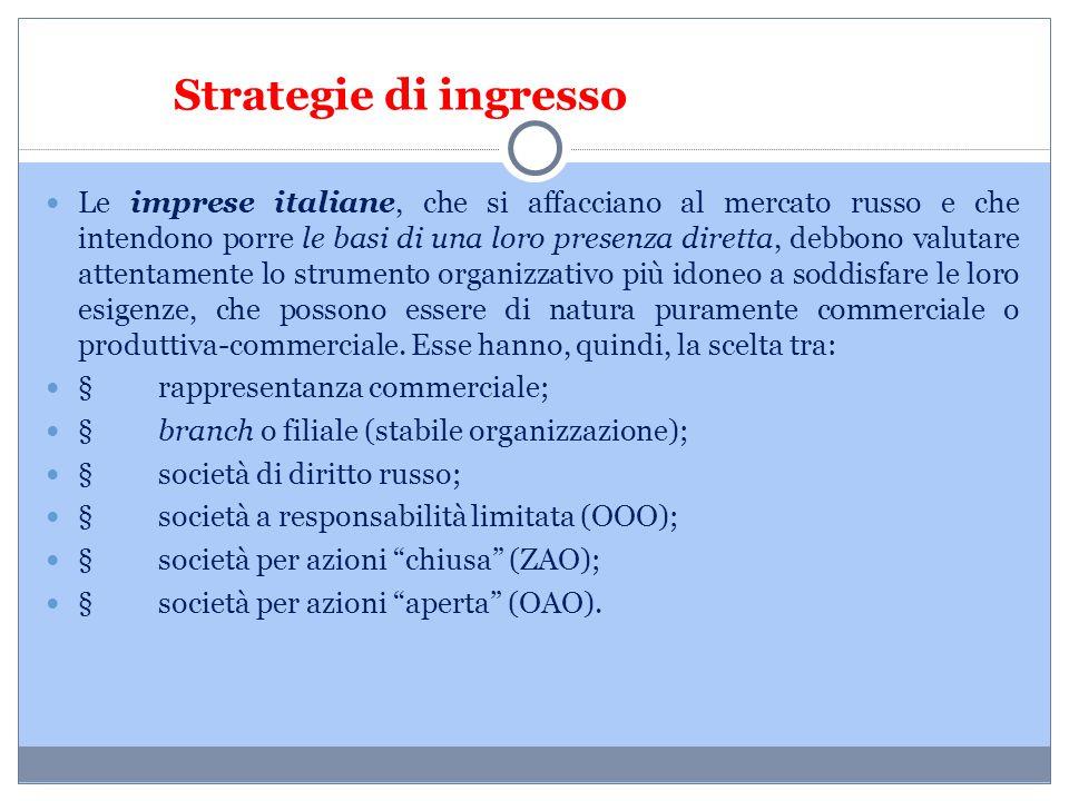 Strategie di ingresso Le imprese italiane, che si affacciano al mercato russo e che intendono porre le basi di una loro presenza diretta, debbono valu