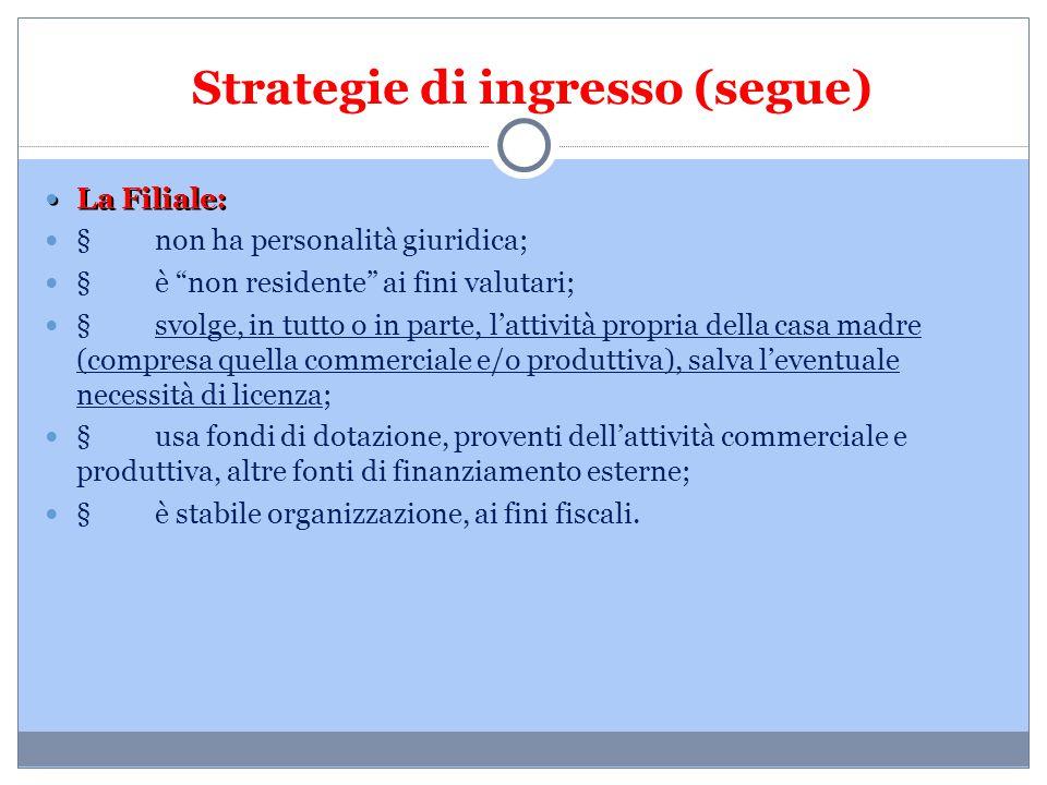 """Strategie di ingresso (segue) La Filiale: La Filiale: § non ha personalità giuridica; § è """"non residente"""" ai fini valutari; § svolge, in tutto o in pa"""