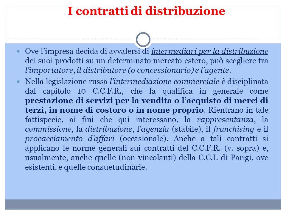I contratti di distribuzione Ove l'impresa decida di avvalersi di intermediari per la distribuzione dei suoi prodotti su un determinato mercato estero
