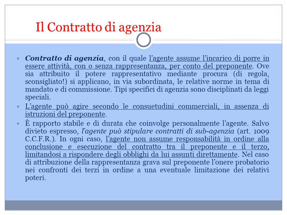 Il Contratto di agenzia Contratto di agenzia, con il quale l'agente assume l'incarico di porre in essere attività, con o senza rappresentanza, per con