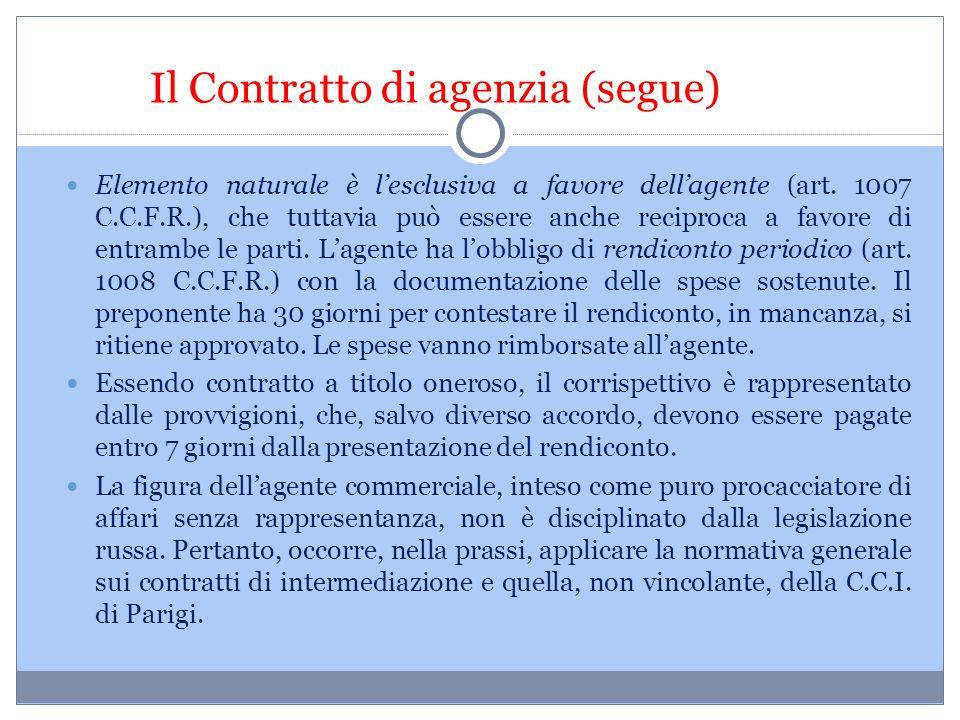 Il Contratto di agenzia (segue) Elemento naturale è l'esclusiva a favore dell'agente (art. 1007 C.C.F.R.), che tuttavia può essere anche reciproca a f