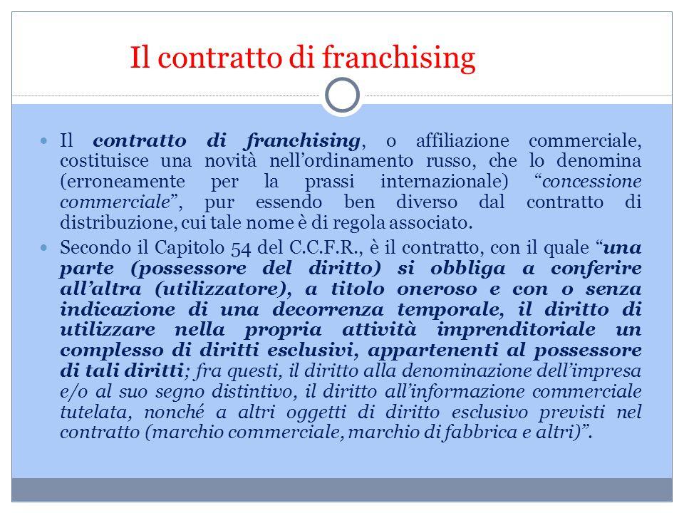 Il contratto di franchising Il contratto di franchising, o affiliazione commerciale, costituisce una novità nell'ordinamento russo, che lo denomina (e