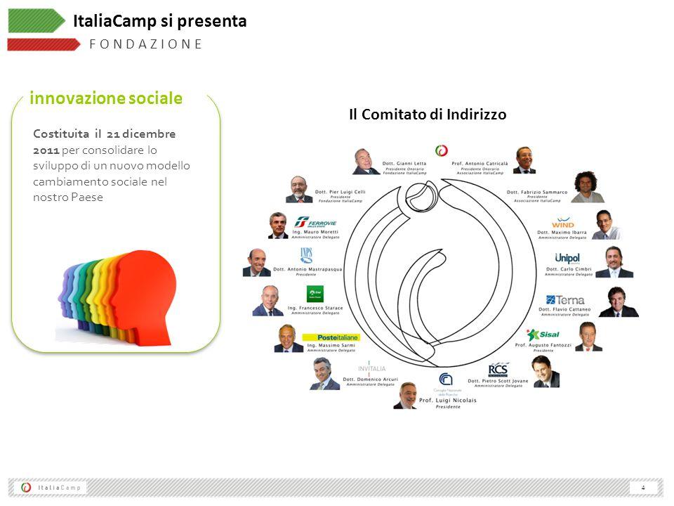 4 F O N D A Z I O N E ItaliaCamp si presenta innovazione sociale Costituita il 21 dicembre 2011 per consolidare lo sviluppo di un nuovo modello cambiamento sociale nel nostro Paese Il Comitato di Indirizzo