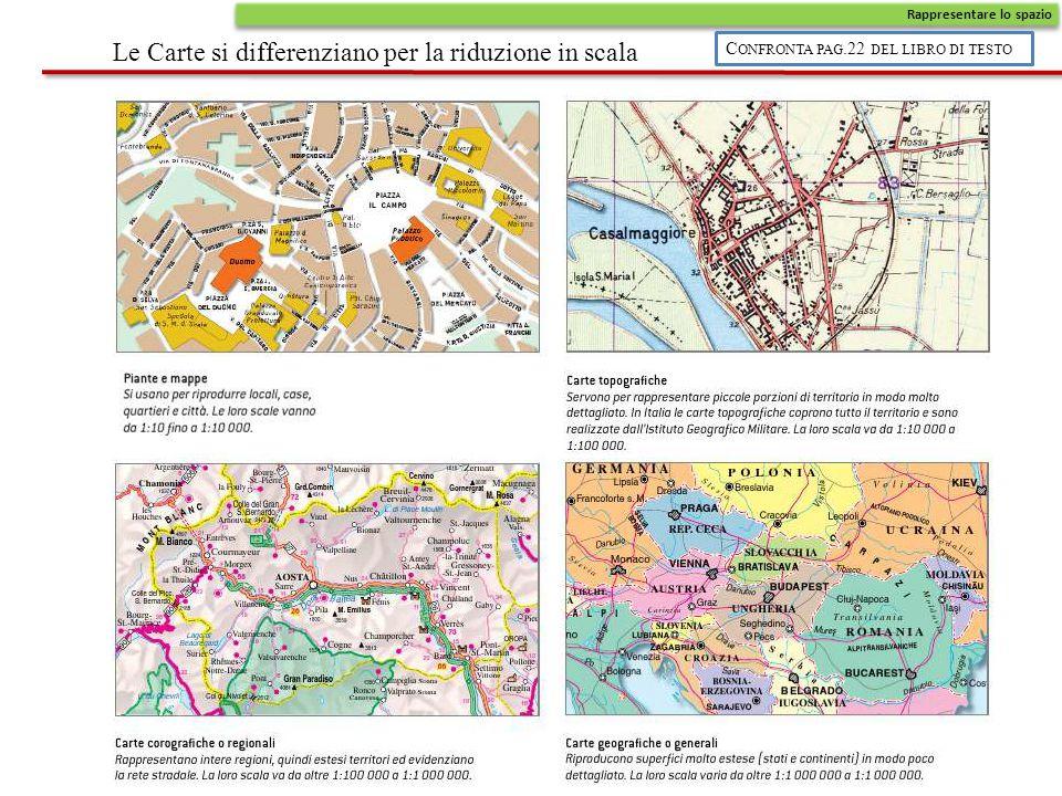 Le Carte si differenziano per la riduzione in scala Rappresentare lo spazio C ONFRONTA PAG.22 DEL LIBRO DI TESTO