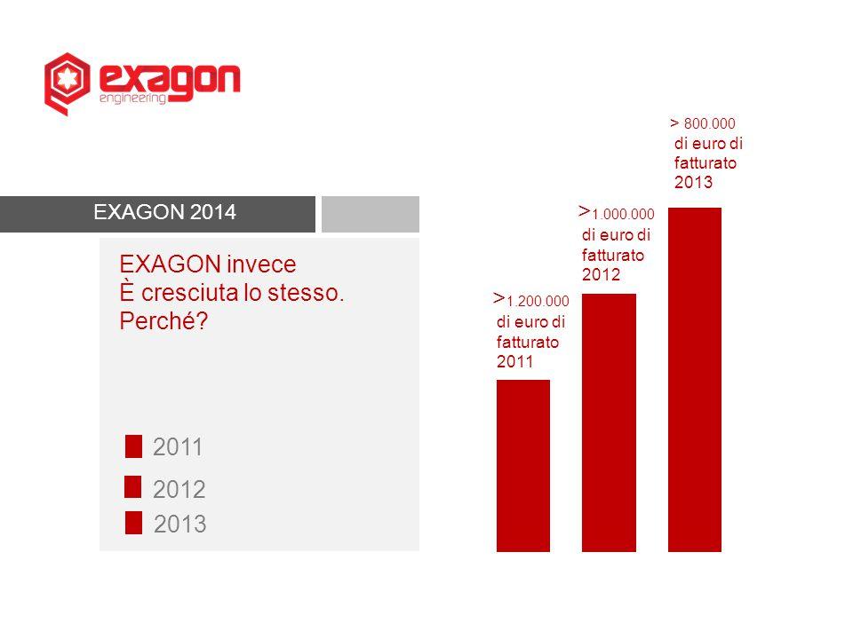 EXAGON 2014 EXAGON invece È cresciuta lo stesso. Perché? 2011 2012 2013 > 800.000 di euro di fatturato 2013 > 1.000.000 di euro di fatturato 2012 > 1.