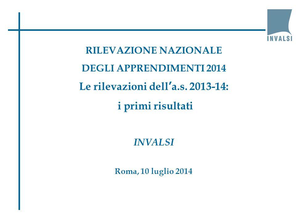 RILEVAZIONE NAZIONALE DEGLI APPRENDIMENTI 2014 Le rilevazioni dell'a.s.