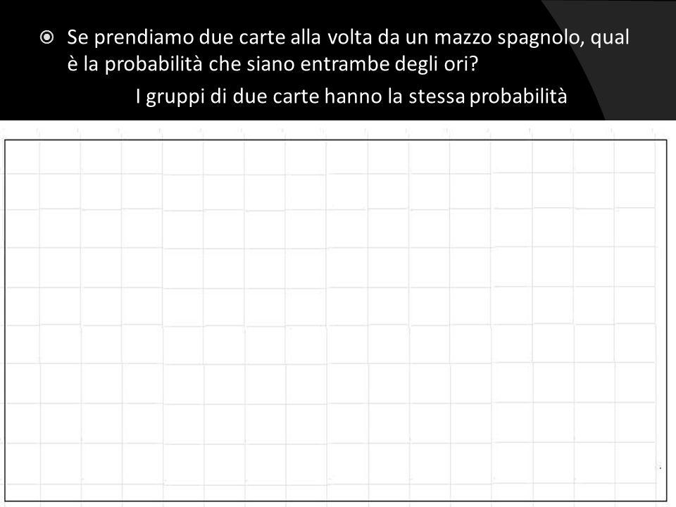  Se prendiamo due carte alla volta da un mazzo spagnolo, qual è la probabilità che siano entrambe degli ori? I gruppi di due carte hanno la stessa pr