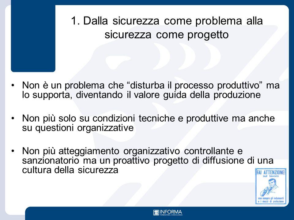 """1. Dalla sicurezza come problema alla sicurezza come progetto Non è un problema che """"disturba il processo produttivo"""" ma lo supporta, diventando il va"""