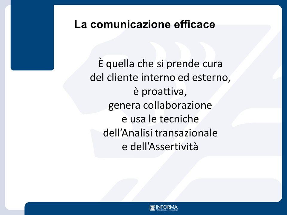 La comunicazione efficace È quella che si prende cura del cliente interno ed esterno, è proattiva, genera collaborazione e usa le tecniche dell'Analis