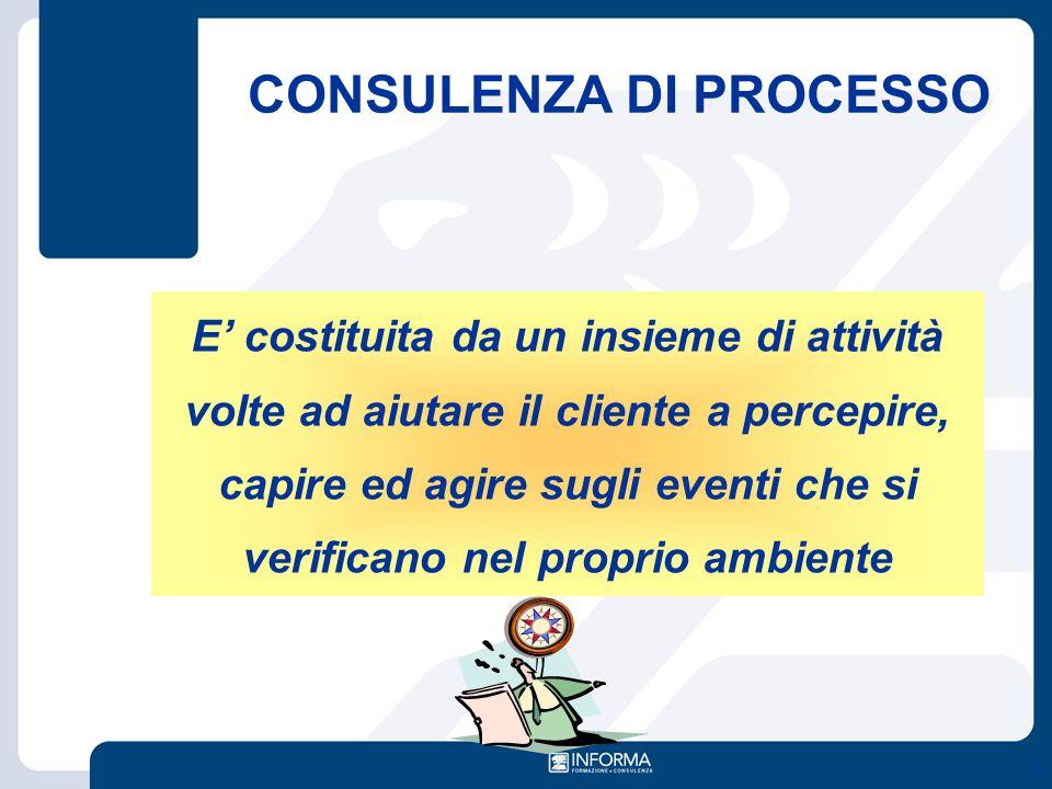 S E' costituita da un insieme di attività volte ad aiutare il cliente a percepire, capire ed agire sugli eventi che si verificano nel proprio ambiente