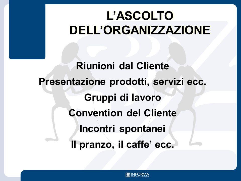 Riunioni dal Cliente Presentazione prodotti, servizi ecc. Gruppi di lavoro Convention del Cliente Incontri spontanei Il pranzo, il caffe' ecc. L'ASCOL