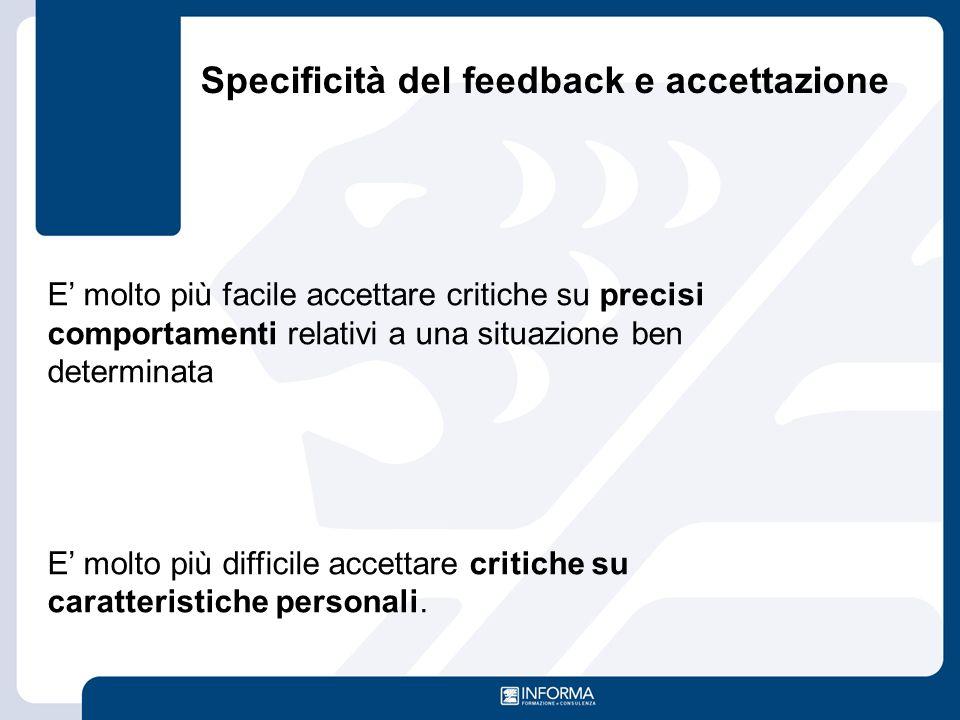 Specificità del feedback e accettazione E' molto più facile accettare critiche su precisi comportamenti relativi a una situazione ben determinata E' m