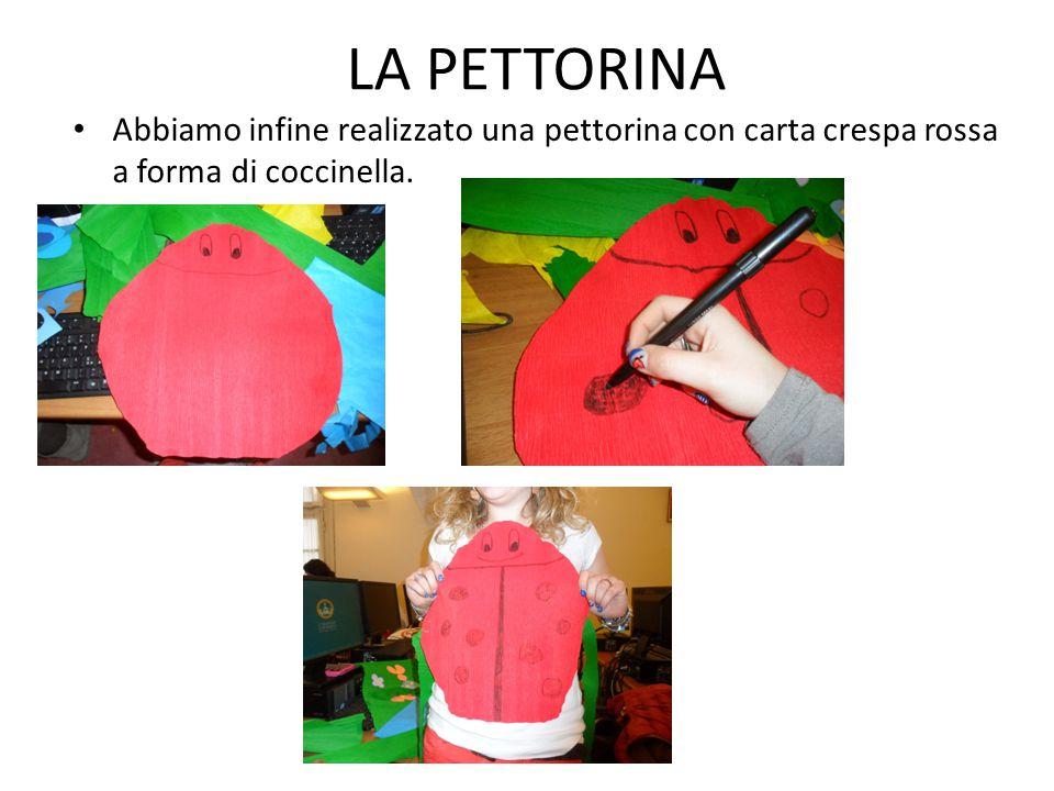 LA PETTORINA Abbiamo infine realizzato una pettorina con carta crespa rossa a forma di coccinella.
