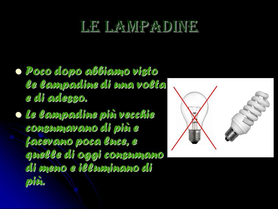 Le lampadine Poco dopo abbiamo visto le lampadine di una volta e di adesso. Poco dopo abbiamo visto le lampadine di una volta e di adesso. Le lampadin