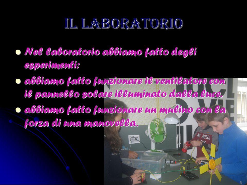 IL LABORATORIO Nel laboratorio abbiamo fatto degli esperimenti: Nel laboratorio abbiamo fatto degli esperimenti: abbiamo fatto funzionare il ventilato