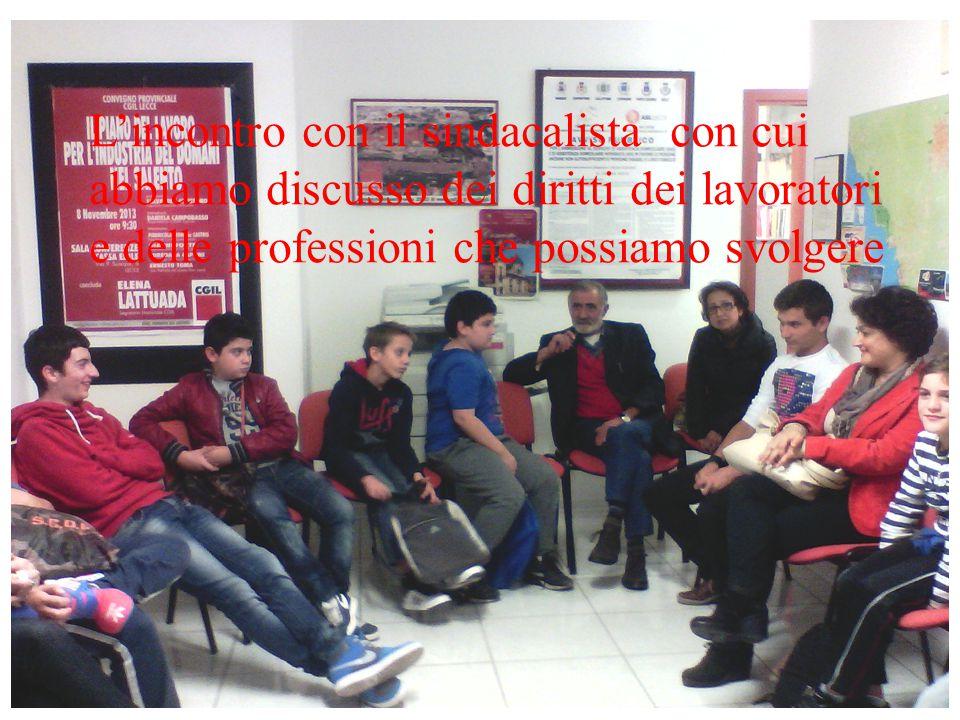 L'incontro con il sindacalista con cui abbiamo discusso dei diritti dei lavoratori e delle professioni che possiamo svolgere