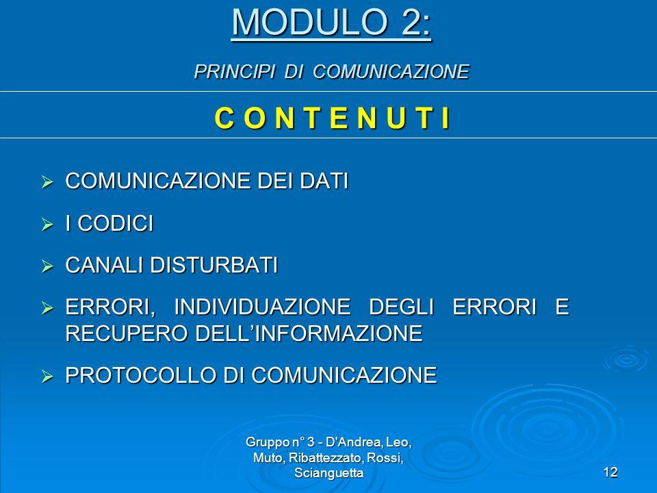 Gruppo n° 3 - D Andrea, Leo, Muto, Ribattezzato, Rossi, Scianguetta12 MODULO 2: PRINCIPI DI COMUNICAZIONE C O N T E N U T I  COMUNICAZIONE DEI DATI  I CODICI  CANALI DISTURBATI  ERRORI, INDIVIDUAZIONE DEGLI ERRORI E RECUPERO DELL'INFORMAZIONE  PROTOCOLLO DI COMUNICAZIONE