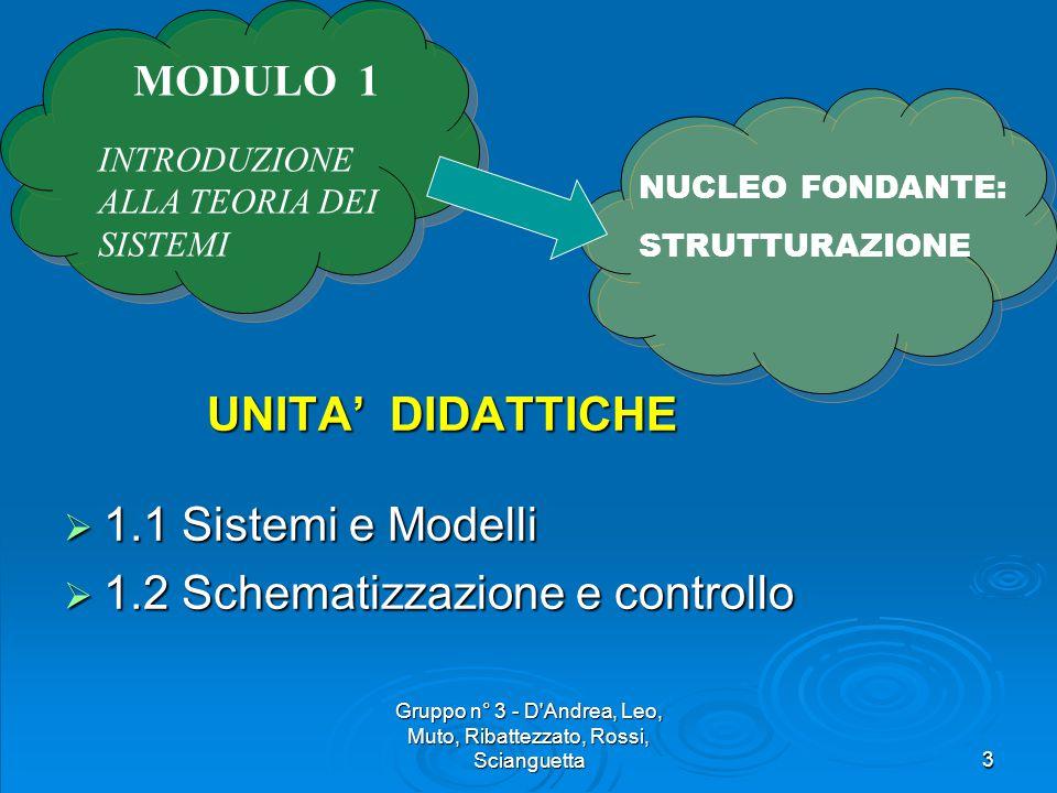 Gruppo n° 3 - D Andrea, Leo, Muto, Ribattezzato, Rossi, Scianguetta3 UNITA' DIDATTICHE UNITA' DIDATTICHE  1.1 Sistemi e Modelli  1.2 Schematizzazione e controllo NUCLEO FONDANTE: STRUTTURAZIONE MODULO 1 INTRODUZIONE ALLA TEORIA DEI SISTEMI