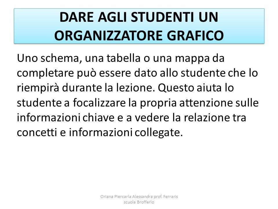 DARE AGLI STUDENTI UN ORGANIZZATORE GRAFICO Uno schema, una tabella o una mappa da completare può essere dato allo studente che lo riempirà durante la lezione.