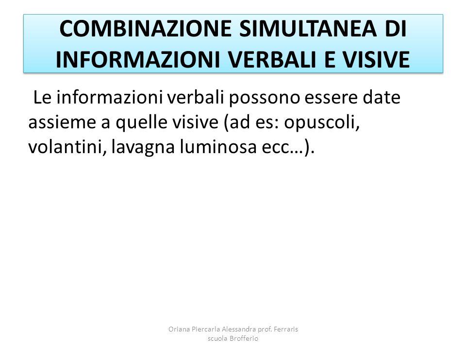 COMBINAZIONE SIMULTANEA DI INFORMAZIONI VERBALI E VISIVE Le informazioni verbali possono essere date assieme a quelle visive (ad es: opuscoli, volantini, lavagna luminosa ecc…).
