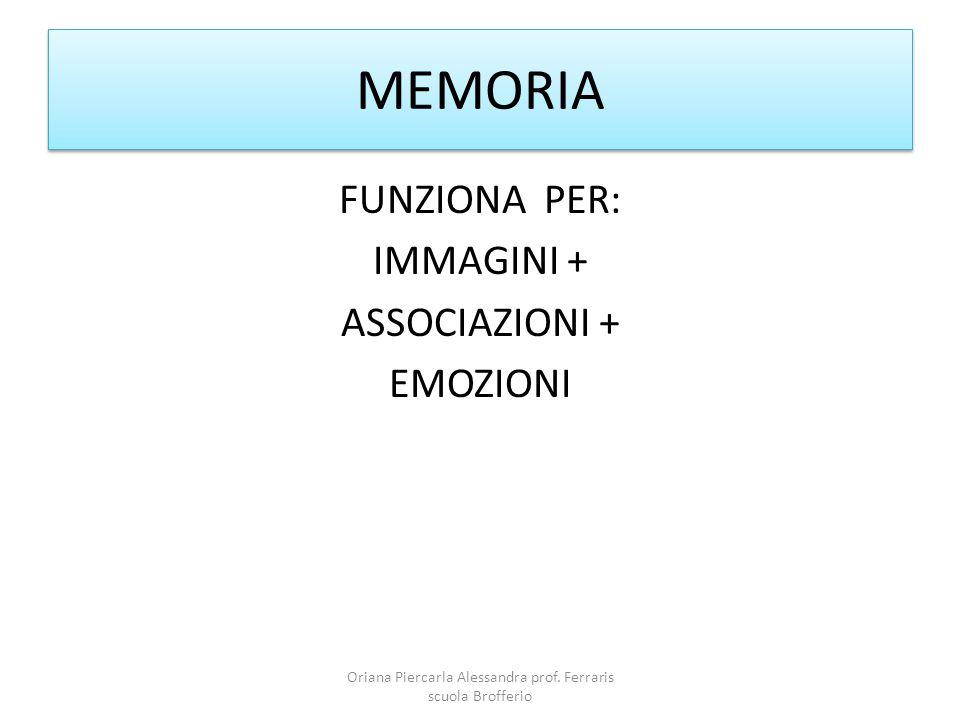 MEMORIA FUNZIONA PER: IMMAGINI + ASSOCIAZIONI + EMOZIONI Oriana Piercarla Alessandra prof.
