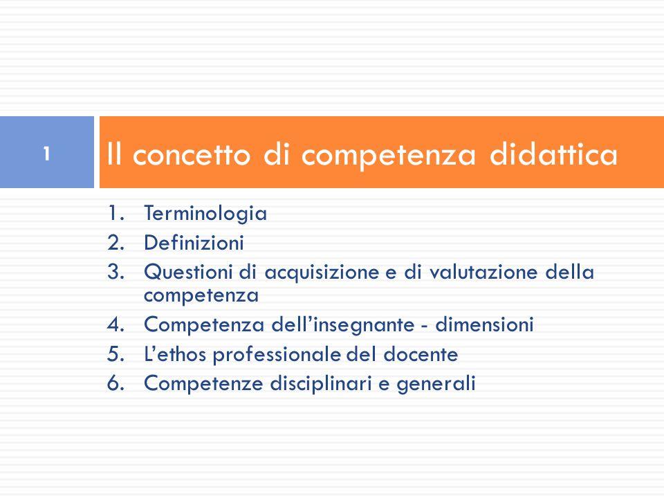 1.Terminologia 2.Definizioni 3.Questioni di acquisizione e di valutazione della competenza 4.Competenza dell'insegnante - dimensioni 5.L'ethos profess