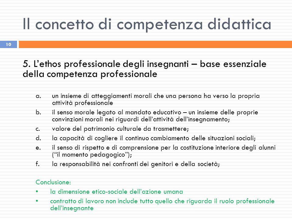 Il concetto di competenza didattica 10 5. L'ethos professionale degli insegnanti – base essenziale della competenza professionale a.un insieme di atte