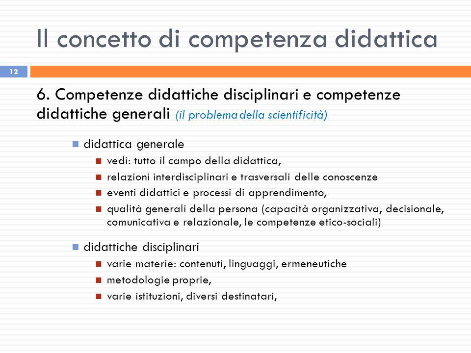 Il concetto di competenza didattica 12 6. Competenze didattiche disciplinari e competenze didattiche generali (il problema della scientificità) didatt