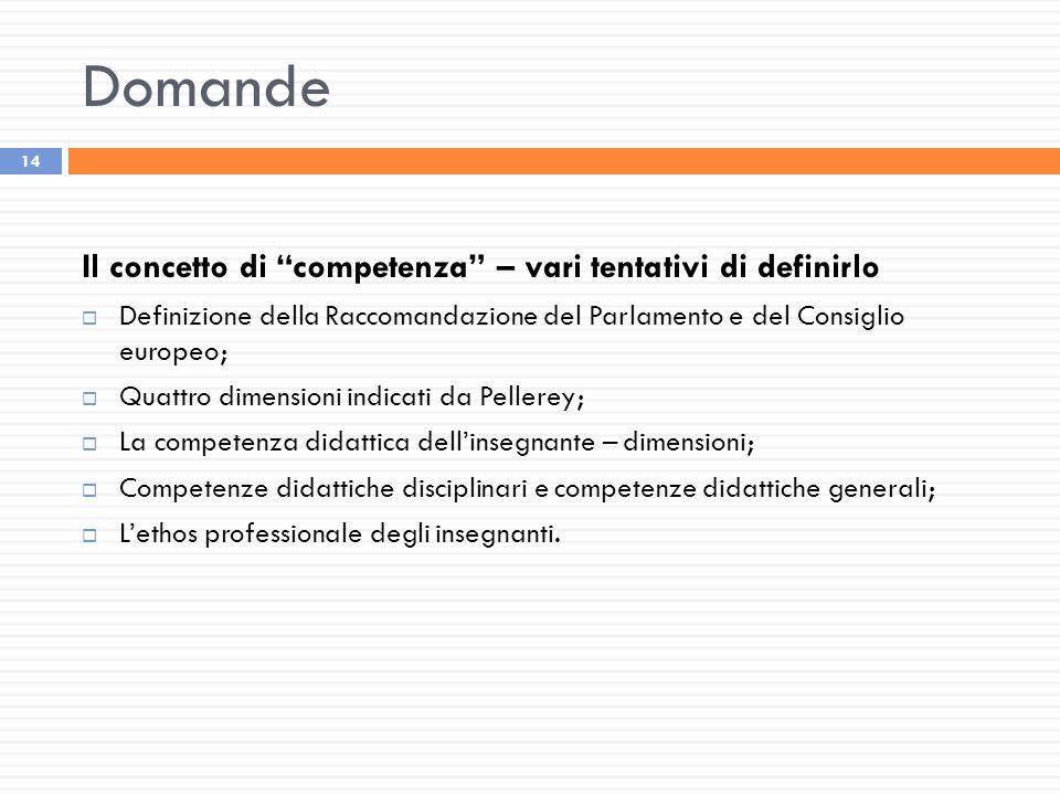 """Domande 14 Il concetto di """"competenza"""" – vari tentativi di definirlo  Definizione della Raccomandazione del Parlamento e del Consiglio europeo;  Qua"""
