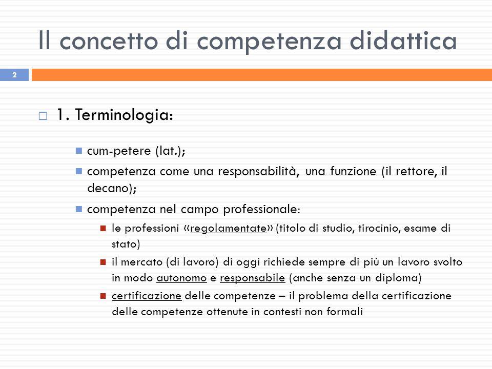 2  1. Terminologia: cum-petere (lat.); competenza come una responsabilità, una funzione (il rettore, il decano); competenza nel campo professionale: