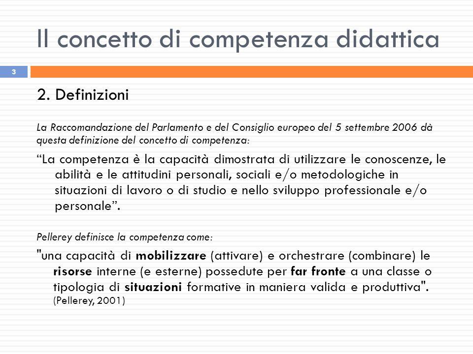 Il concetto di competenza didattica 3 2. Definizioni La Raccomandazione del Parlamento e del Consiglio europeo del 5 settembre 2006 dà questa definizi