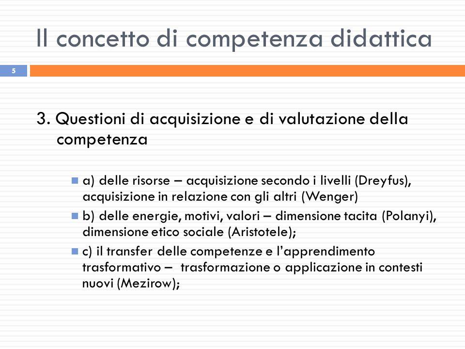 Il concetto di competenza didattica 5 3. Questioni di acquisizione e di valutazione della competenza a) delle risorse – acquisizione secondo i livelli