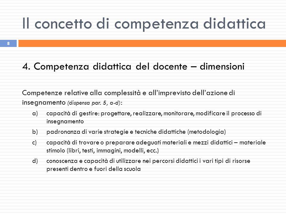 Il concetto di competenza didattica 8 4. Competenza didattica del docente – dimensioni Competenze relative alla complessità e all'imprevisto dell'azio