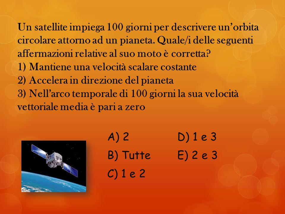 Un satellite impiega 100 giorni per descrivere un'orbita circolare attorno ad un pianeta.