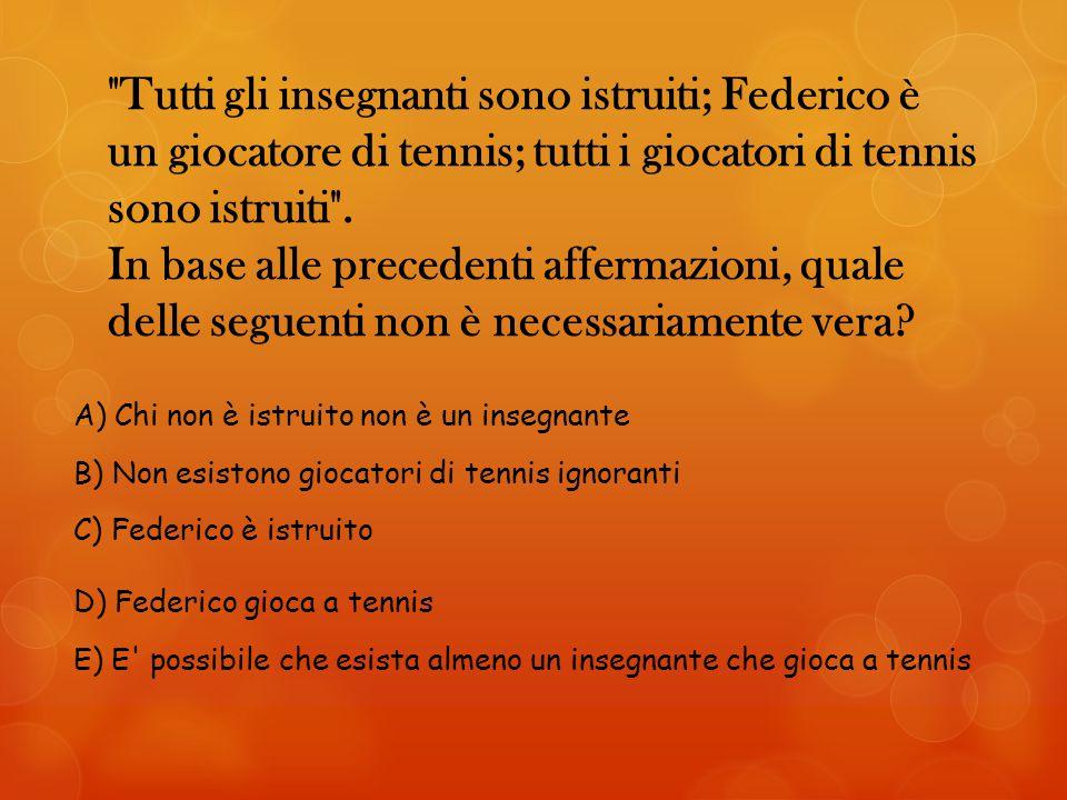 Tutti gli insegnanti sono istruiti; Federico è un giocatore di tennis; tutti i giocatori di tennis sono istruiti .