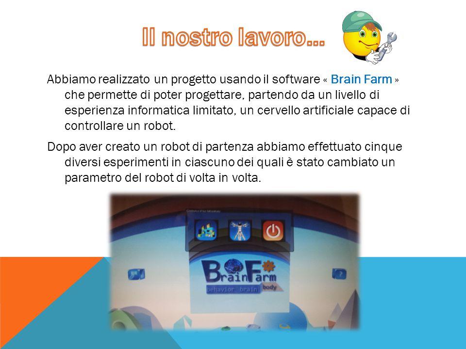 Abbiamo realizzato un progetto usando il software « Brain Farm » che permette di poter progettare, partendo da un livello di esperienza informatica li