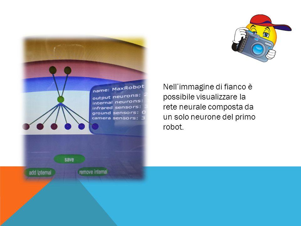 Nell'immagine di fianco è possibile visualizzare la rete neurale composta da un solo neurone del primo robot.