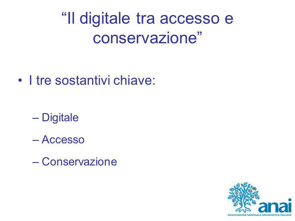 Il digitale tra accesso e conservazione I tre sostantivi chiave: –Digitale –Accesso –Conservazione
