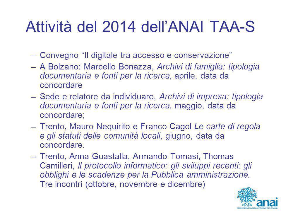 """Attività del 2014 dell'ANAI TAA-S –Convegno """"Il digitale tra accesso e conservazione"""" –A Bolzano: Marcello Bonazza, Archivi di famiglia: tipologia doc"""