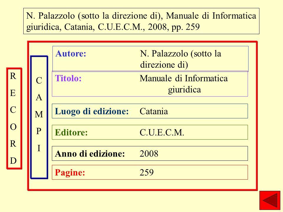 N. Palazzolo (sotto la direzione di), Manuale di Informatica giuridica, Catania, C.U.E.C.M., 2008, pp. 259 Autore: N. Palazzolo (sotto la direzione di