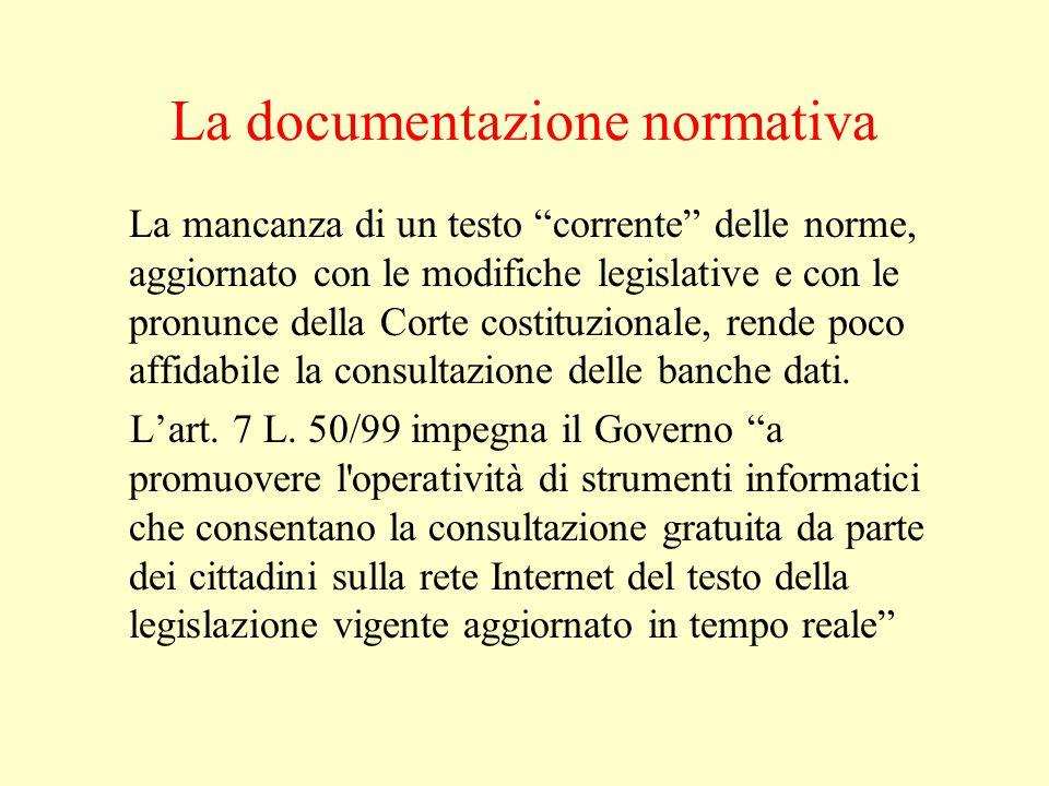 La documentazione normativa La mancanza di un testo corrente delle norme, aggiornato con le modifiche legislative e con le pronunce della Corte costituzionale, rende poco affidabile la consultazione delle banche dati.