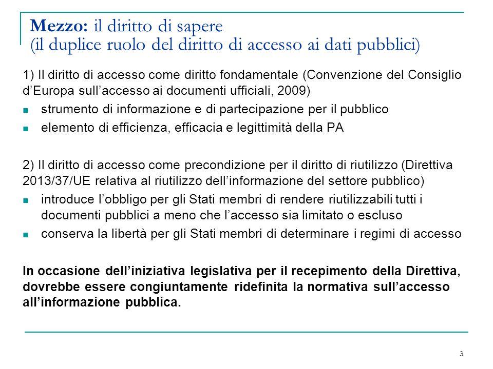 Mezzo: il diritto di sapere (il duplice ruolo del diritto di accesso ai dati pubblici) 1) Il diritto di accesso come diritto fondamentale (Convenzione