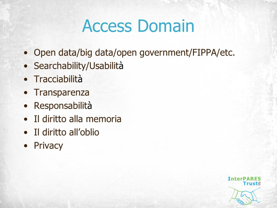 Access Domain Open data/big data/open government/FIPPA/etc.