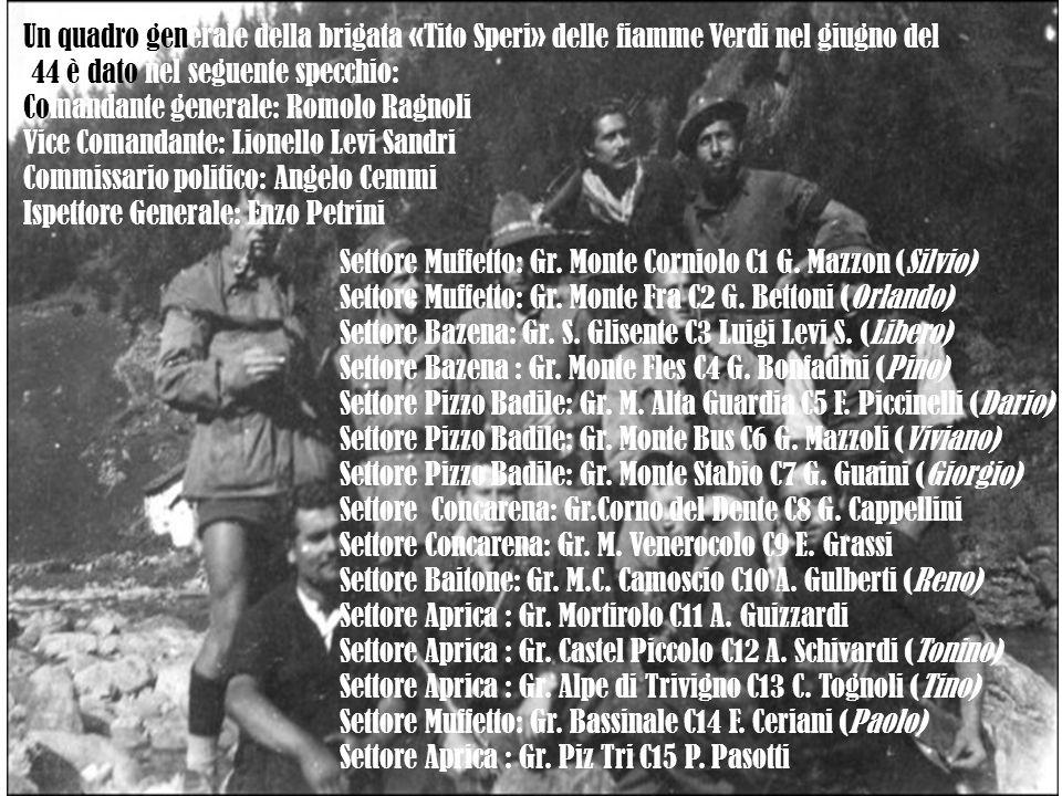 Un quadro generale della brigata «Tito Speri» delle fiamme Verdi nel giugno del '44 è dato nel seguente specchio: Comandante generale: Romolo Ragnoli